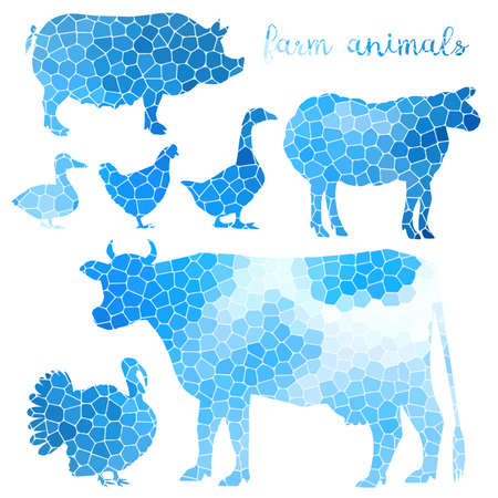 variegated: Set of farm animals mosaic texture isolated background