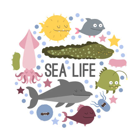 pugilist: Set of sea life animals. Flat style