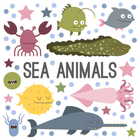 Vector. Set of sea life animals. Flat style
