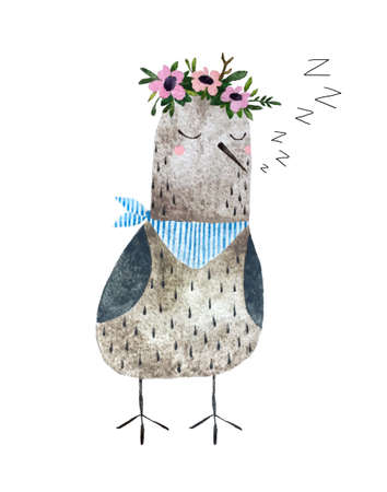 Hand drawn sleep seagull with flower wreath and neck scarf. Isolated on white background watercolor bird for textile, fabric and wallpaper.