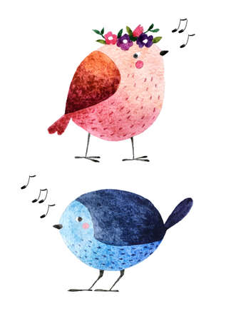 birdsong: Isolated on white background hand drawn bird. Watercolor singing bird for your design, fabric, textile, wallpaper, wrapping paper and others.