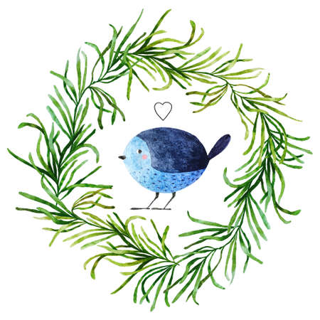 Isolated on white background hand drawn bird. Watercolor bird in flora wreath with little drawn heart for your design, fabric, textile, wallpaper, wrapping paper and others.