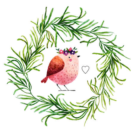 birdsong: Isolated on white background hand drawn bird. Watercolor bird in flora wreath with little drawn heart for your design, fabric, textile, wallpaper, wrapping paper and others.
