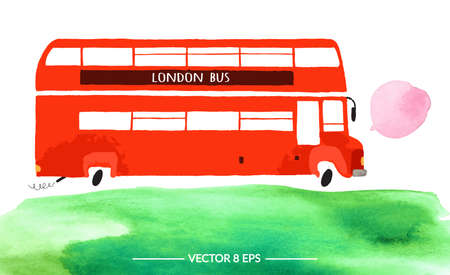 Vector. Hand drawn watercolor double decker bus with green grass isolated on white background.