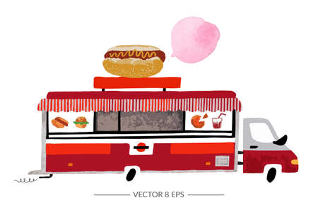 Vector. Hand drawn watercolor food truck isolated on white background.