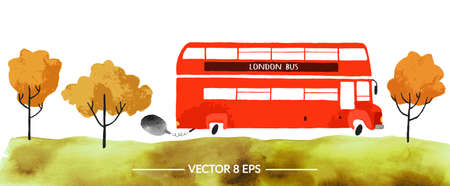 Vector. Hand drawn watercolor double decker bus with autumn trees and grass isolated on white background. Illustration
