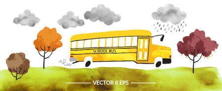 Vector. Hand drawn watercolor school bus with autumn trees and grass and clouds isolated on white background.