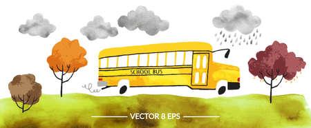 Vector. Hand getrokken aquarel schoolbus met herfst bomen en gras en wolken geïsoleerd op een witte achtergrond.