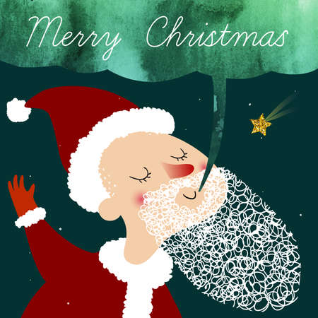 Vector art for Christmas and New Year with cute cartoon Santa Claus. Perfect for invitation, postcards, banners, greeting cards and others.