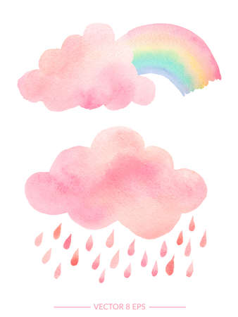 Vector. Cute pink watercolor clouds with rain and rainbow. Set of watercolor objects isolated on white background for your design: textile, fabric, postcard, invitation.