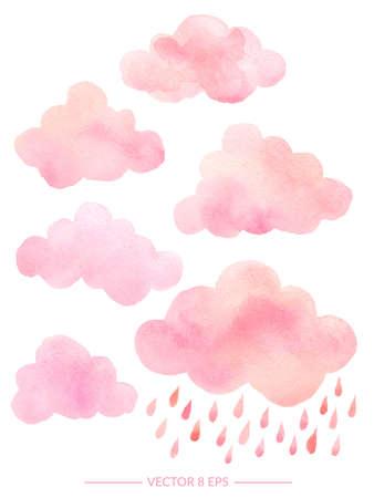 벡터. 비가와 귀여운 핑크 수채화 구름입니다. 귀하의 디자인에 대 한 흰색 배경에 고립 된 수채화 개체 집합 : 섬유, 직물, 엽서, 초대장.
