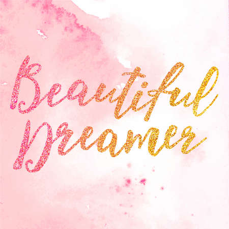 Vector. Hand drawn inscription Beautiful Dreamer isolated on the white background. Illustration