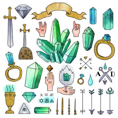 Vektor. Satz Hand gezeichnete Elemente mit Aquarelleffekt und schwarzer Kontur lokalisiert auf weißem Hintergrund. Set von einzigartigen mittelalterlichen Elementen und Kristallen. Standard-Bild - 78007968