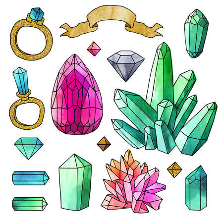 Vector. Set of hand drawn elements with watercolor effect and black contour isolated on white background. Set of unique medieval elements and crystals. Illustration