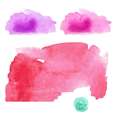 Vector. Set of watercolor blots isolated on white background. Colorful hand drawn watercolor blots for your design.