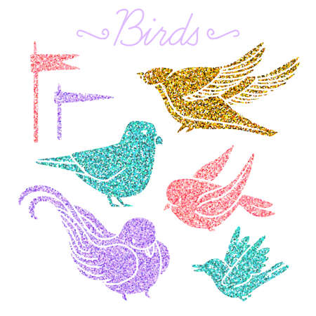 Vector. Set of random birds with glitter isolated on white background.