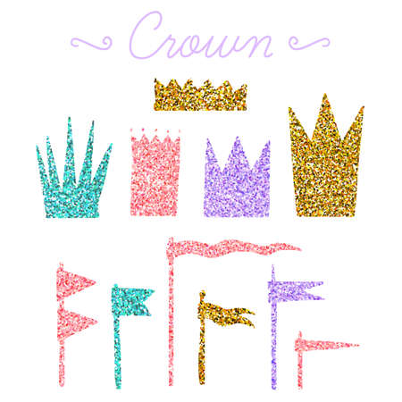 Set of vector flags and crowns isolated on white background. Vector hand drawn elements with glitter for your design. Illustration