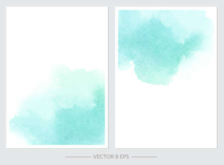 Vector. Set of cards with watercolor blots. Set of cards with hand drawn blots on white background for your design. Save the Date, postcard, banner, logo. Ilustração