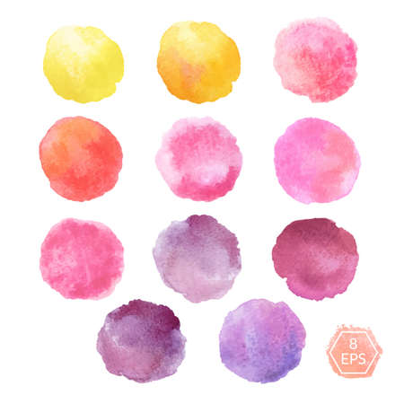 Vector. Set of hand drawn watercolor blots. Hand drawn watercolor blots good for your design, logo, label, print, card, banner. Elements for your design. Illustration