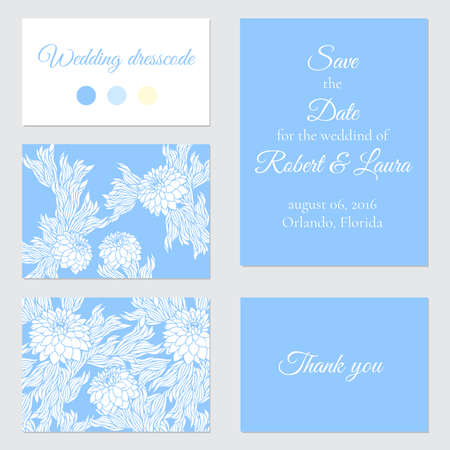 aster: Set of vector greeting cards for wedding, save the date, elegant invitation template for marriage, aster; peony; chrysanthemum or dahlia Illustration