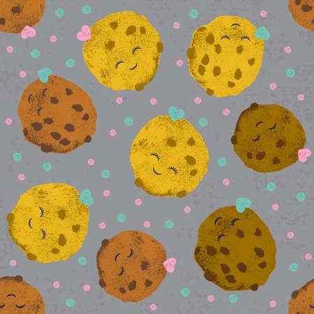 Vector seamless pattern with cute cartoon ice creams and cookies and spots in grunge style for textile, fabric, paper, fashion, scrapbooking and others