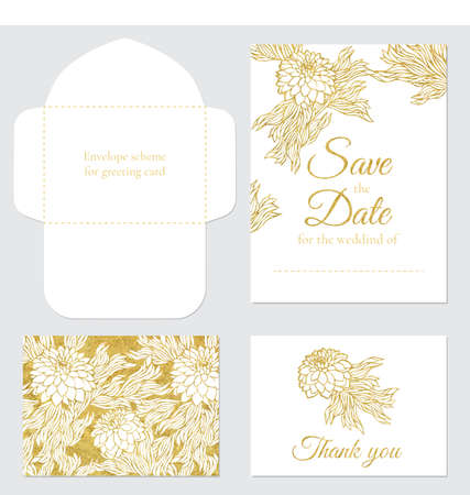 wedding reception decoration: Set of vector greeting cards wedding save the date gold glitter. Set of wedding invitations on the white background with floral ornament. Illustration