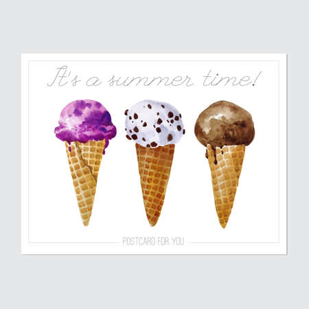 cornet: Vector Ready to print postcard with watercolor ice creams. Postcard with ice creams and discription isolated on the white background.