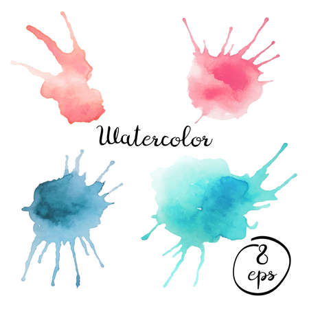 Set of vector blots isolated on white background. Set of colorful watercolor blots. Set of blots in nude colors.