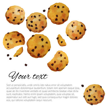 Vector cookies with chocolate watercolor hand drawn. Hand made hand drawn cookies with chocolate isolated on white background. Illustration