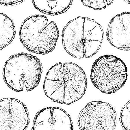 Vectorhand getrokken houten rond gespleten naadloos die patroon op witte achtergrond wordt geïsoleerd. Vector naadloos patroon van hand getrokken houten die spleten met ringen voor textiel, stof, behang, ontwerpen op witte achtergrond worden geïsoleerd Stock Illustratie