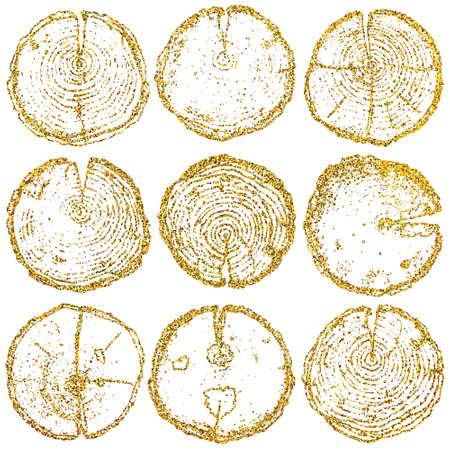 Vector hout splitst geplaatst geïsoleerd op de witte achtergrond. Vector houten splits instellen met gouden Glitters voor uw ontwerp, stof, logo, briefkaart en anderen.