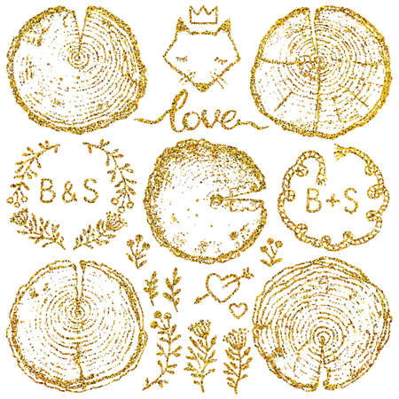 Vector wood splits set with decorative elements isolated on white backdrop. Vector wood splits set with gold glitter for your design. Illustration