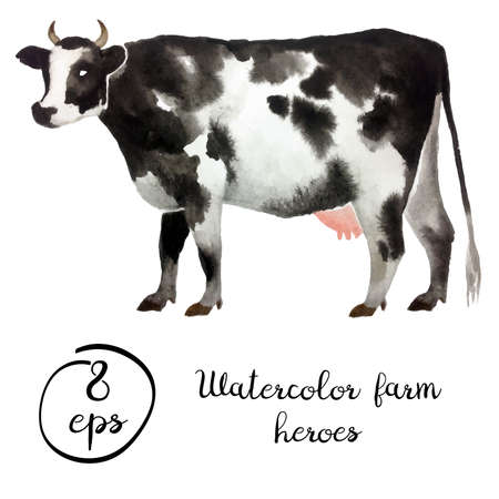 Vector farm animal cattle watercolor isolated on white background. Vector cow for art, logo, banner, emblem and others