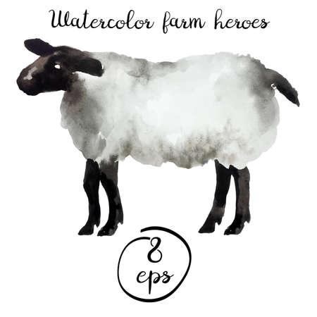 Vector boerderij dieren aquarel Stock Illustratie