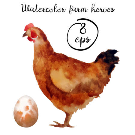 trabajo manual: Vector farm poultry watercolor isolated on white background. Vector chicken and egg for art, logo, banner, emblem and others