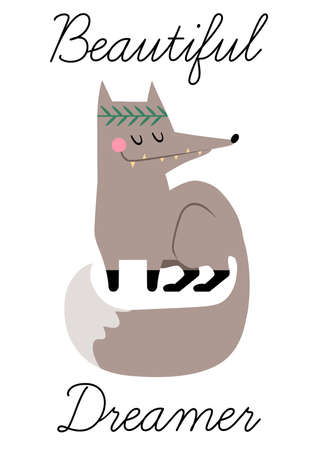 Cute hand drawn vector grey fox in flat style. Little funny stylized fox for your design.