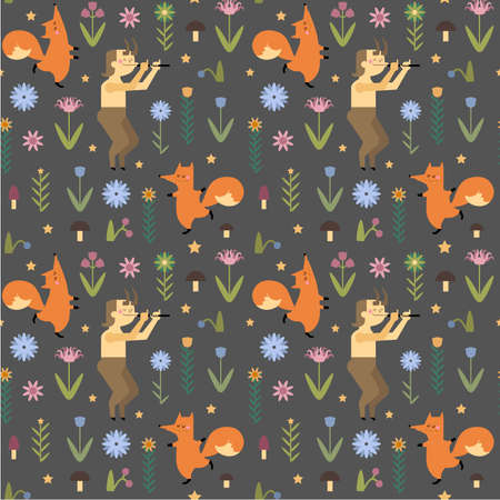 Hand drawn vector pattern with dancing foxes and faun in flat style. Beautiful seamless pattern with faun, foxes, flowers, mushrooms, berries for your design. Illustration