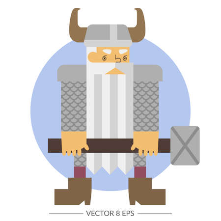 Vector. Flat style fantasy warrior dwarf. Illustration