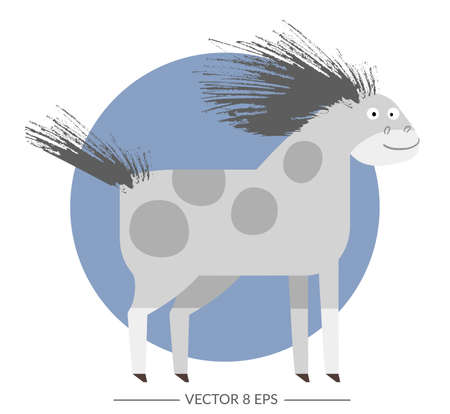 Cute vector horse in flat style. Crazy horse for your design, fabric, textile, wallpaper, greeting and motivate postcards and posters and other. Illustration