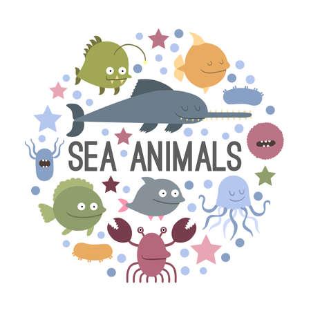 Vector. Set of sea life animals. Flat style