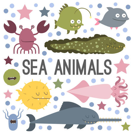 moray: Vector. Set of sea life animals. Flat style