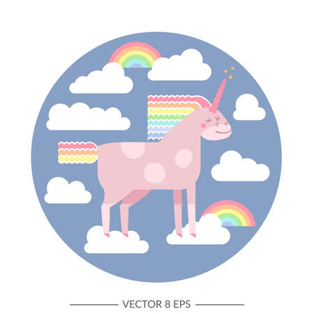 Cute vector unicorn in flat style. Unicorn horse with rainbow mane and tail for your design, fabric, textile, wallpaper, greeting and motivate postcards and posters and other.