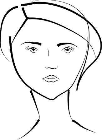 beatiful girl looking ahead Illustration