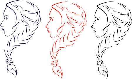 red hair: three profile of girl with braided hair