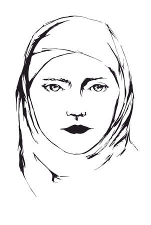 looking ahead: Portrait of young islamic woman in veil in black color looking ahead
