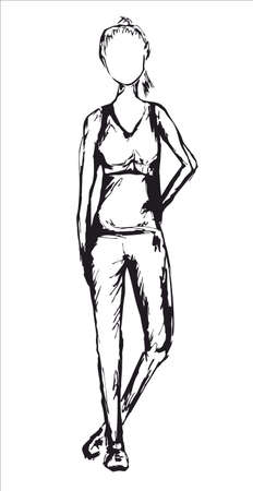 looking ahead: sporty slim woman in sport clothes and in sneakers in black color looking ahead