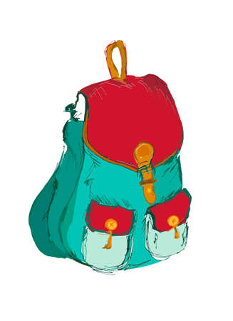 haversack: Stylish backback in blue and red colora on the white background with two pockets