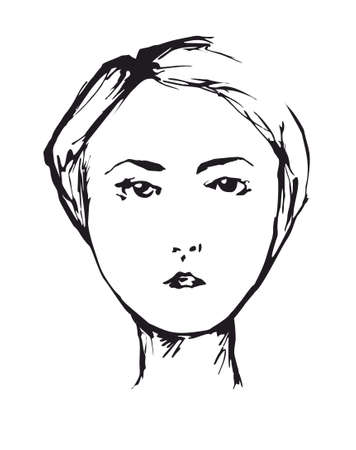 looking ahead: portrait of elegant girl with short hair cut on the white background looking ahead Illustration