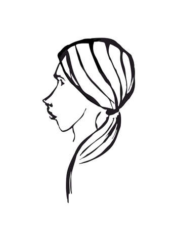 young girl: profile of young elegant girl