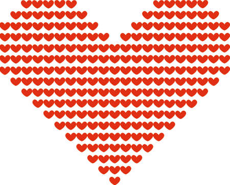 big size: big red symbolic heart made of small red hearts of the same size Illustration